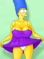 Toon xxx marge in white panties dreaming about hot fuck with several cocks.
